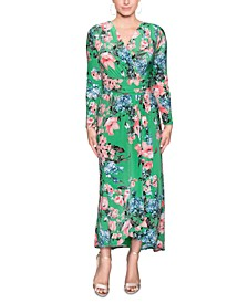 Ruched-Waist Floral-Print Maxi Dress