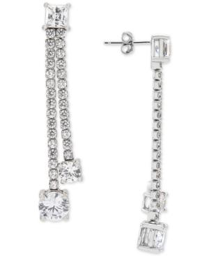 Cubic Zirconia Double Drop Earrings in Sterling Silver