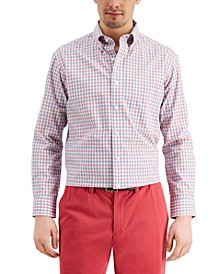 Men's Classic/Regular-Fit Performance Stretch Gingham Check Dress Shirt, Created for Macy's