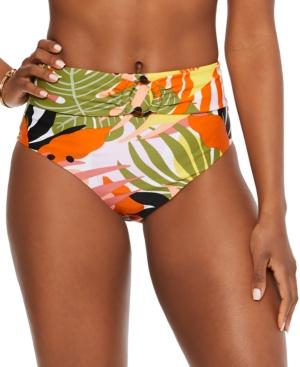 Printed High-Rise Bikini Bottoms