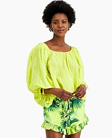 INC Cotton Tie-Back Peasant Top, Created for Macy's