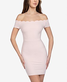 Juniors' Scalloped Off-The-Shoulder Dress