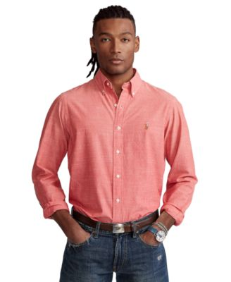폴로 랄프로렌 Polo Ralph Lauren Mens Classic-Fit Chambray Shirt,Spring Red