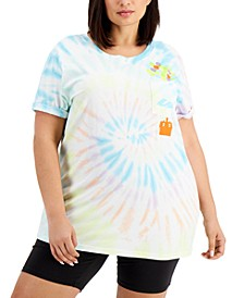 Trendy Plus Size Up Pocket Tie-Dyed T-Shirt