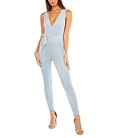 Faux-Suede Skinny Jumpsuit