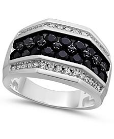 Men's Black & White Diamond Ring (2 ct. t.w.) in 10k White Gold