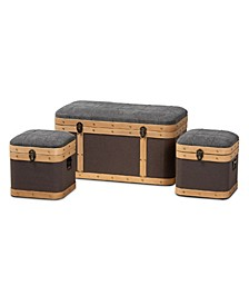 Clarence Modern and Contemporary Transitional Fabric Upholstered 3 Piece Storage Ottoman Trunk Set