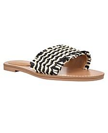 Women's Cammie Frayed Flat Slide Sandals