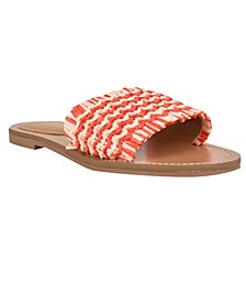 Women's Cammie Frayed Flat Slide Sandals