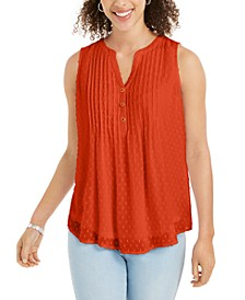 Petite Pleated Clip-Dot Top, Created for Macy's