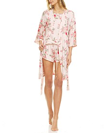 Lauren Wrap Robe, Cami & Tap Shorts 3pc Travel Pajama Set