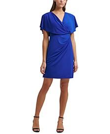 Draped Blouson A-Line Dress