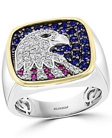 EFFY® Men's Multi-Gemstone (1-1/20 ct. t.w.) & Diamond (3/8 ct. t.w.) Eagle Ring in Sterling Silver & 14k Gold