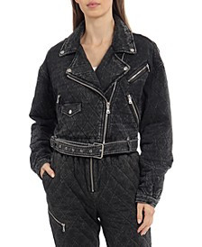 Cropped French Terry Quilted Biker Jacket