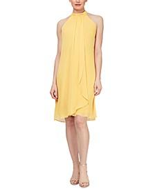 Sleeveless Ruched Sheath Halter Dress