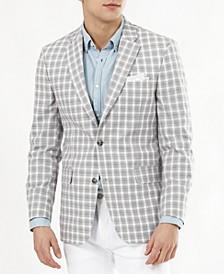 Men's Modern-Fit Tan & Gray Plaid Blazer