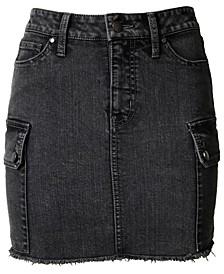 Juniors' Denim Utility Skirt