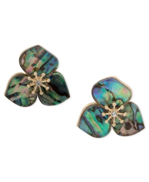 Gold-Tone Pave & Mother-of-Pearl Flower Stud Earrings