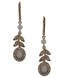 Gold-Tone Pavé & Stone Flower Linear Drop Earrings