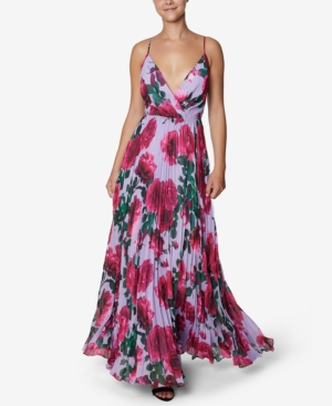Floral-Print Chiffon Pleated Gown