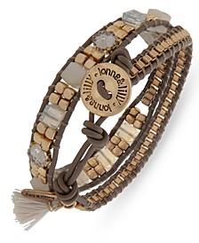 Gold-Tone Crystal & Bead Flower Corded Wrap Bracelet