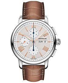 Men's Swiss Chronograph Star Legacy Brown Leather Strap 43mm