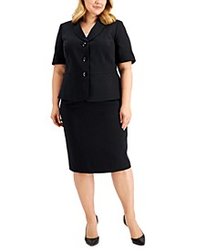 Plus Size Shawl Collar Skirt Suit