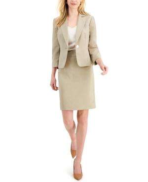 Glazed Melange One-Button Skirt Suit