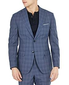 Men's Slim-Fit Plaid Suit Jacket