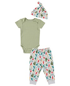 Baby Boys Hat, Ribbed Bodysuit and Jogger, Set of 3