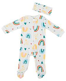 Baby Girls Rainbow 2-Piece Coverall Set