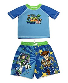 Toddler Boys Toy Story Rash Guard and Trunk Set
