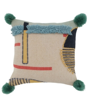 "Saro Lifestyle Pillows POM POM EMBROIDERED PILLOW COVER, 16"" X 16"""