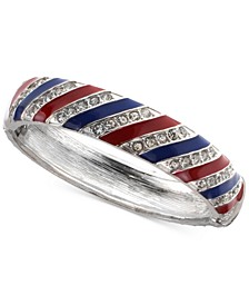 Charter Club Silver-Tone Pavé Red, White & Blue Bangle Bracelet, Created for Macy's