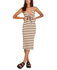 Striped Dance Strides Tie-Front Dress