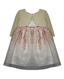 Little Girls Cardigan Dress with Reverse Border