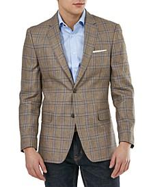 Men's Modern-Fit Linen Plaid Blazer
