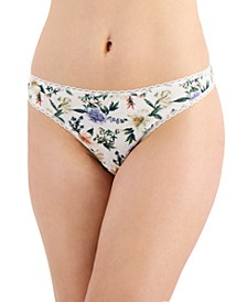Women's Floral-Print Cotton Thong, Created for Macy's