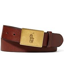Men's Pony Plaque Leather Belt