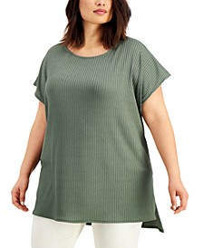 Plus Size Ribbed-Knit High-Low Top, Created for Macy's