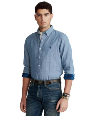 폴로 랄프로렌 Polo Ralph Lauren Mens Classic-Fit Chambray Shirt,Light Blue Chambray