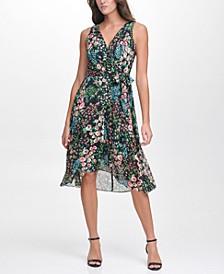 Floral Print Faux-Wrap Dress