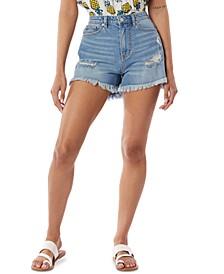 Juniors' Callie High-Rise Destructed Jean Shorts