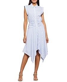 Striped Handkerchief-Hem Dress