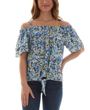 Juniors' Floral-Print Tie-Hem Cold-Shoulder Top