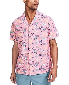 Men's Classic-Fit Tropical-Print Linen Camp Shirt