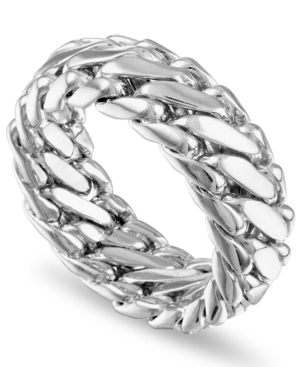 Woven Curb Link Ring in 18k Gold-Plated Sterling Silver
