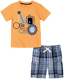 Little Boys Short Sleeve Tractor T-Shirt and Plaid Shorts, Set of 2