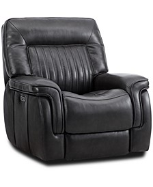"""Thaniel 38"""" Leather Power Glider Recliner, Created for Macy's"""