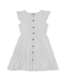 Big Girls Eyelet Button Front Dress